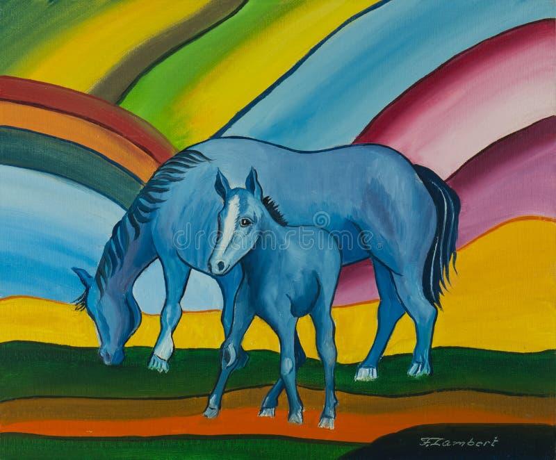 Caballo azul con el potro contra un fondo colorido libre illustration