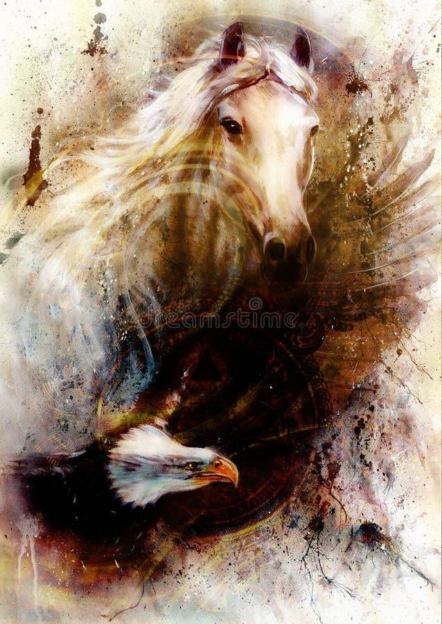 Caballo blanco con un ejemplo de la pintura hermosa del águila del vuelo ilustración del vector