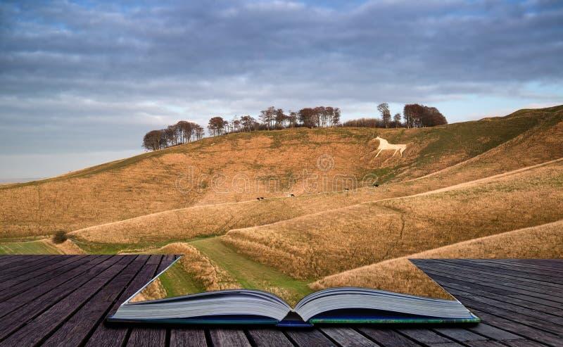 Caballo blanco de la tiza antigua en paisaje durante el otoño que iguala Cre fotos de archivo libres de regalías
