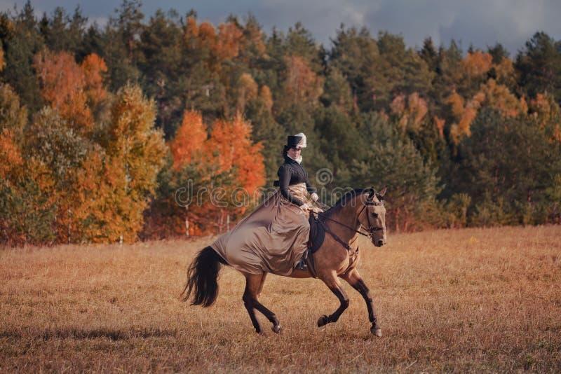 Caballo-caza con los jinetes en hábito de montar a caballo fotos de archivo libres de regalías