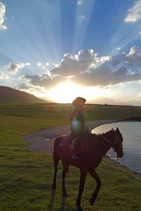 Caballo chino del paseo de los ganaderos del Kazakh imagen de archivo