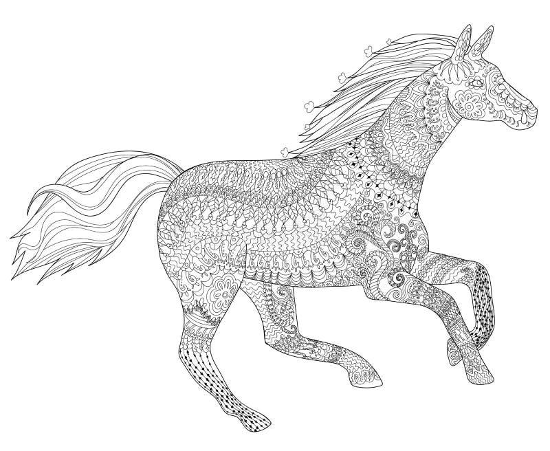Caballo corriente con los altos detalles ilustración del vector