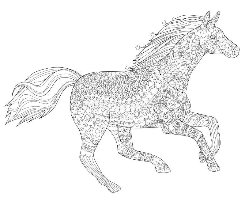 Caballo corriente en estilo del zentangle stock de ilustración