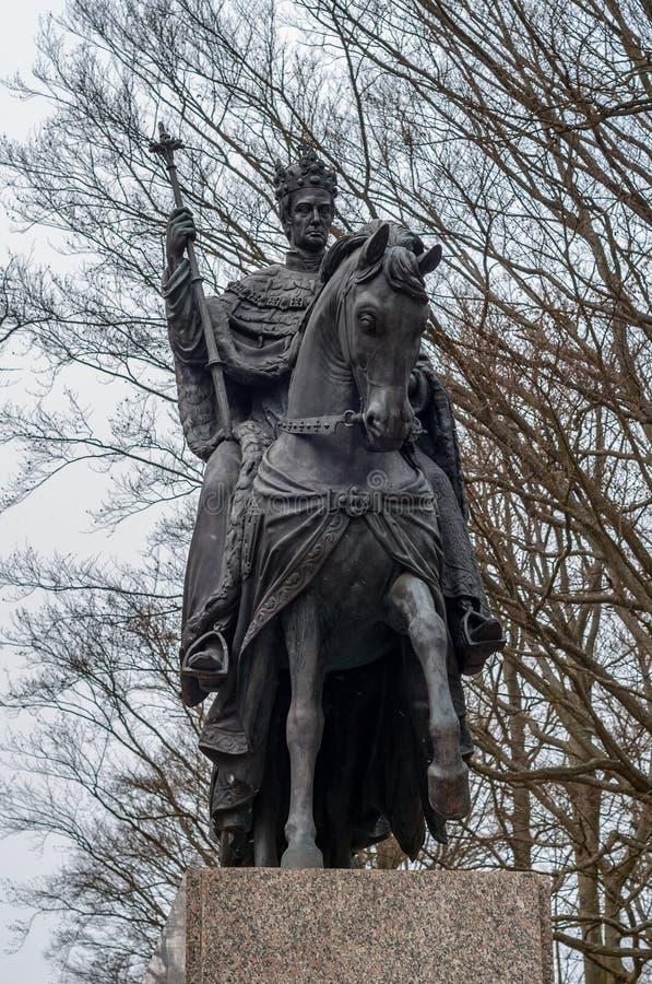 Caballo de la estatua del bronce del montar a caballo del jinete del rey, lazne de Frantiskovy, Franciscus fotos de archivo