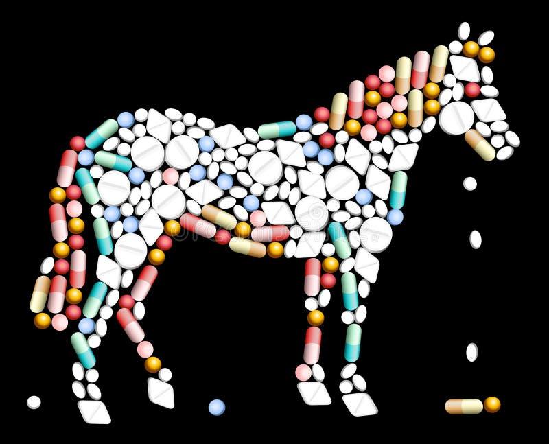 Caballo de las píldoras de las tabletas stock de ilustración