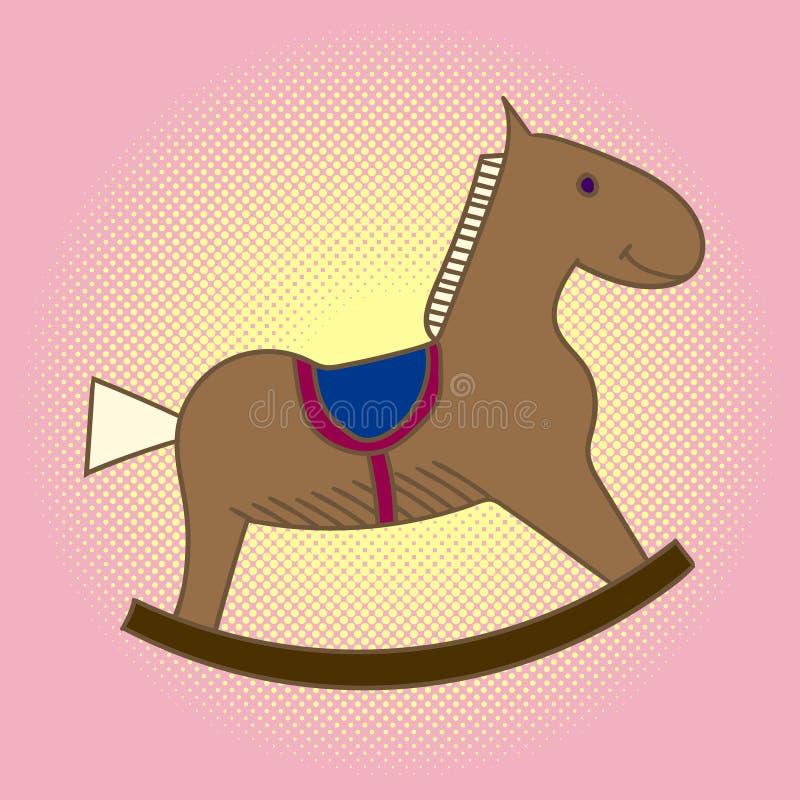 Caballo de madera del niño del arte pop Carrusel para los niños Vector de los juguetes stock de ilustración