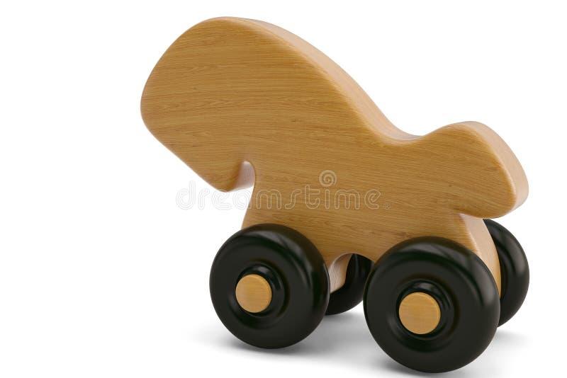 Caballo de madera en el ejemplo blanco del fondo 3D stock de ilustración