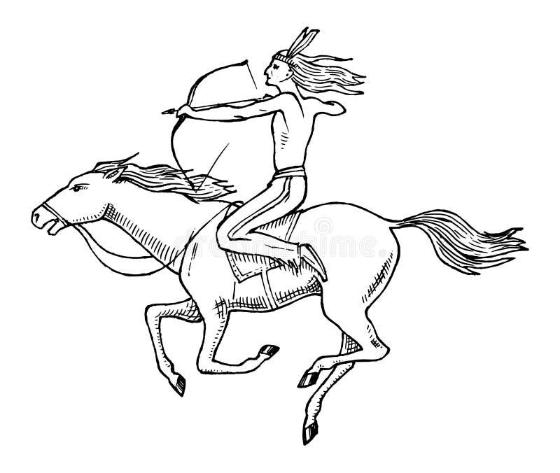 Caballo de montar a caballo indio americano nacional con la lanza a disposición Hombre tradicional mano grabada dibujada en viejo stock de ilustración