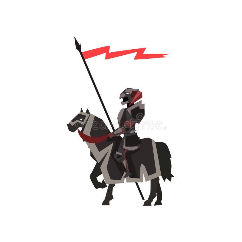Caballo de montar a caballo medieval del caballero Guardia real en armadura negra con la bandera roja Diseño plano del vector par stock de ilustración