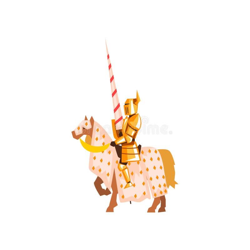 Caballo de montar a caballo medieval del caballero que sostiene la lanza Guerrero valiente en armadura de oro Diseño plano del ve ilustración del vector
