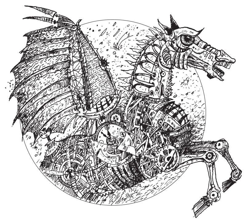 Caballo de Steampunk (vector) ilustración del vector