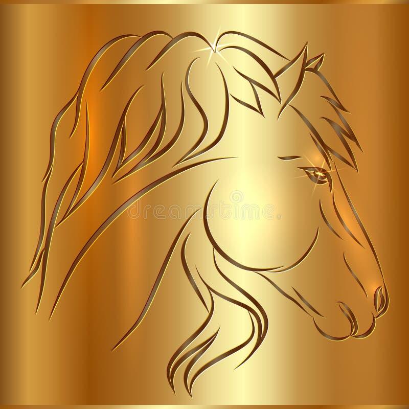 Caballo del bosquejo del vector en fondo de oro ilustración del vector