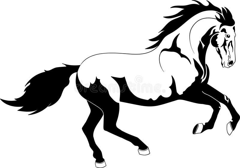 Caballo del contorno que corre en vector libre illustration