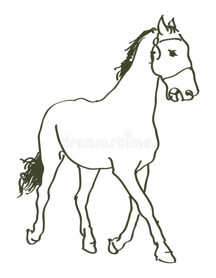 Caballo dibujado mano libre illustration