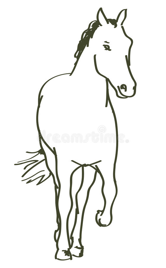 Caballo dibujado mano stock de ilustración