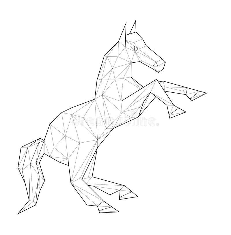 Caballo - ejemplo bajo del polígono stock de ilustración