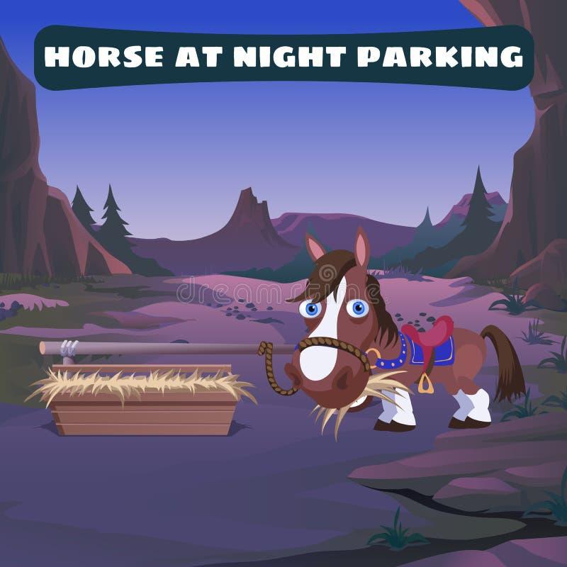 Caballo en el estacionamiento de la noche en el oeste salvaje ilustración del vector