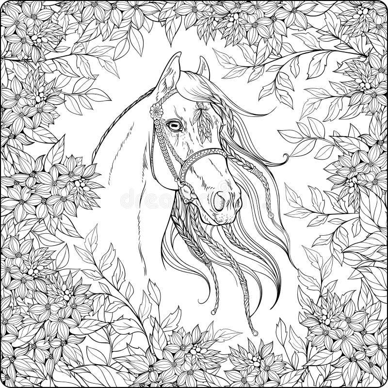 Caballo en el jardín stock de ilustración