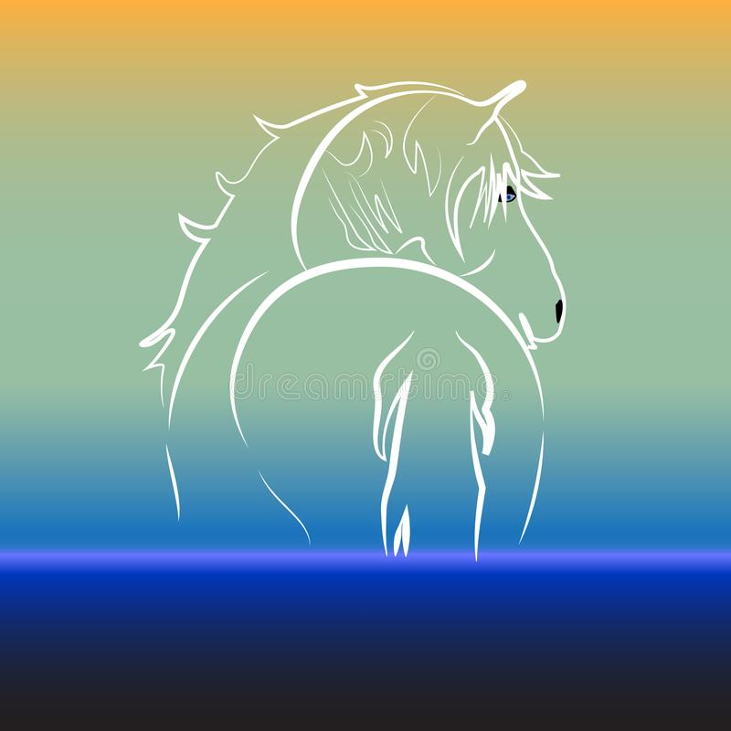 Caballo en imagen de tarjeta de la identificación del diseño del ejemplo del vector del fondo del agua libre illustration