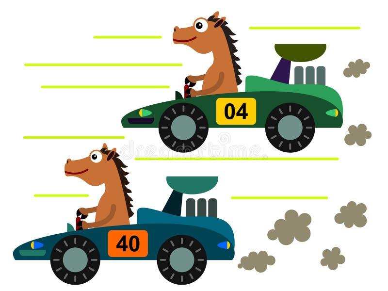 Caballo en una raza ilustración del vector
