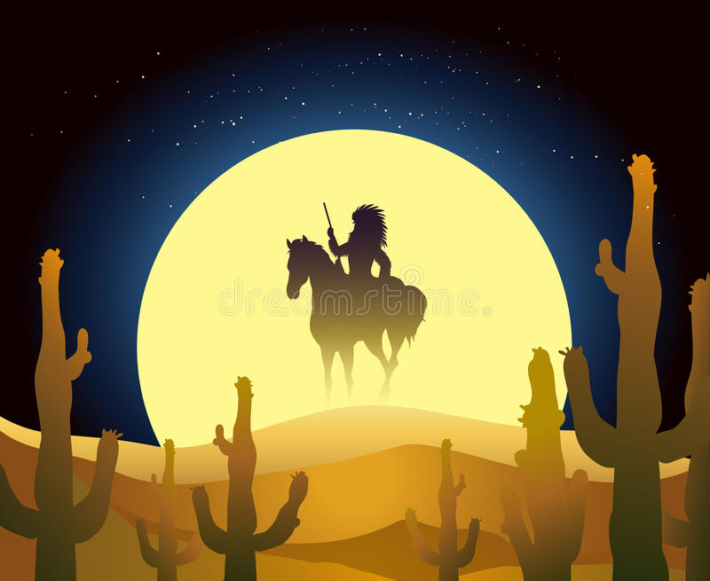 Caballo indio del paseo en desierto stock de ilustración