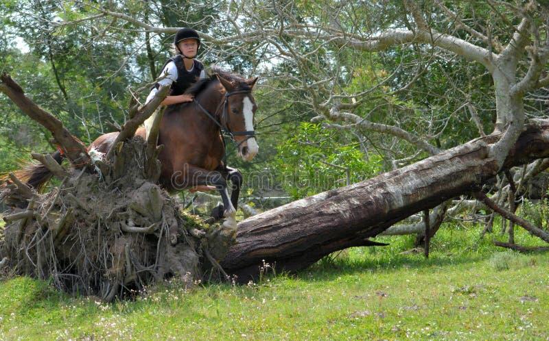 A caballo montar a caballo del campo a través foto de archivo