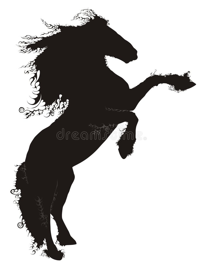 Caballo negro ilustración del vector