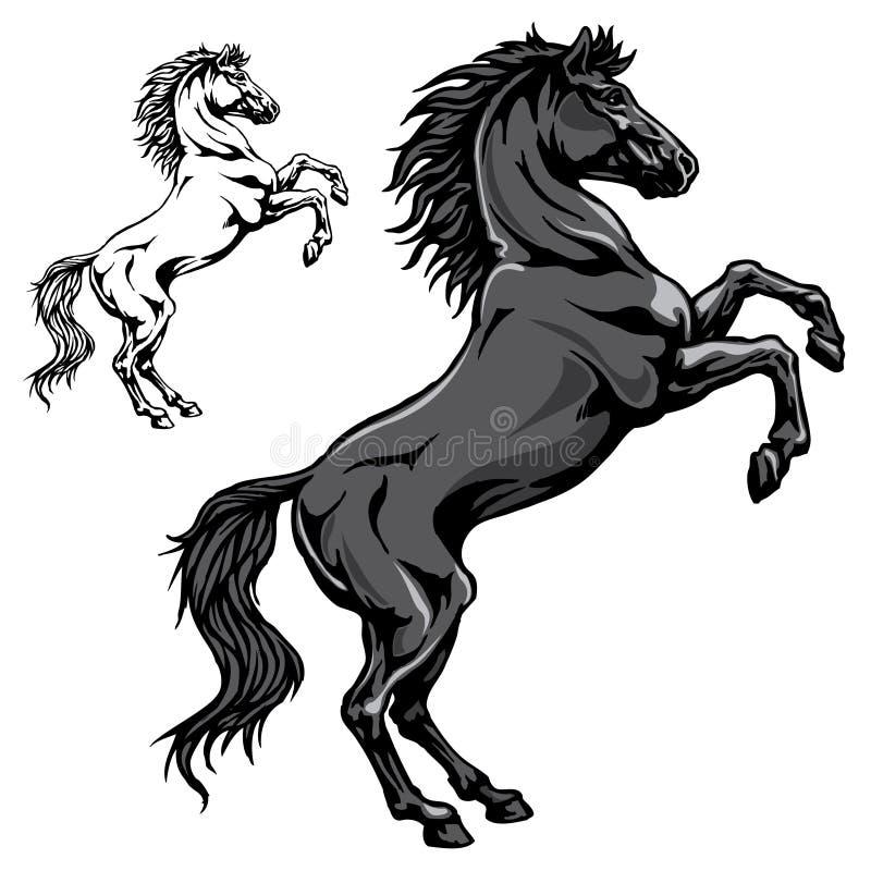 Caballo negro stock de ilustración