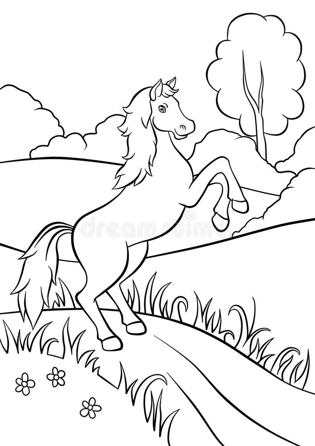 Caballo que se coloca en el camino en campo stock de ilustración