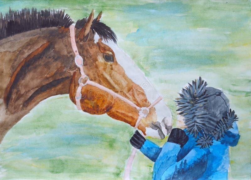 Caballo y adolescente Pintado con pinturas de color agua stock de ilustración