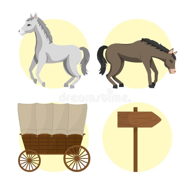 Caballo y carros ilustración del vector