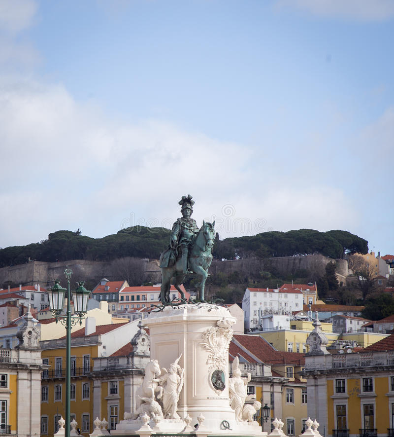Caballo y estatua Lisboa del jinete fotografía de archivo libre de regalías