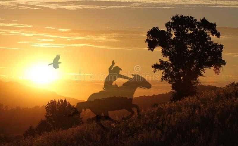 Caballo y jinete en un prado de oro imagen de archivo