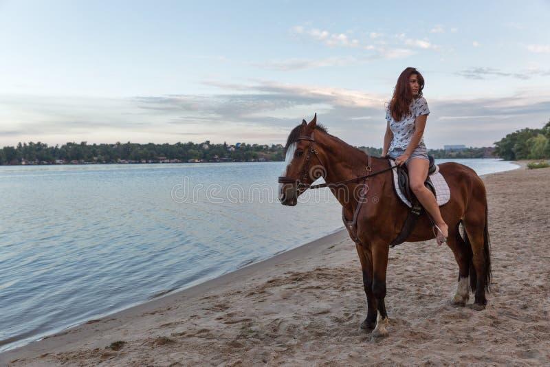 Caballo y mujer hermosa joven en la playa del río imagen de archivo libre de regalías