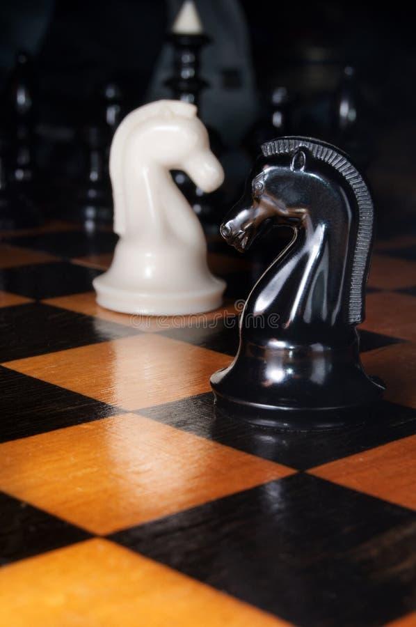 Caballos blancos y negros del ajedrez imagenes de archivo
