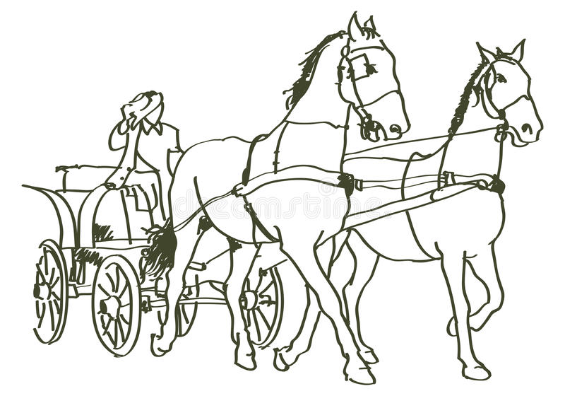 Caballos dibujados mano libre illustration