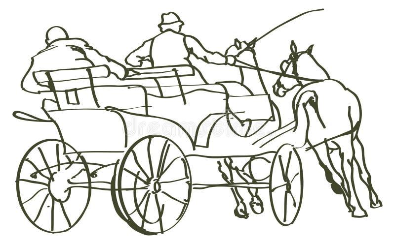 Caballos dibujados mano stock de ilustración