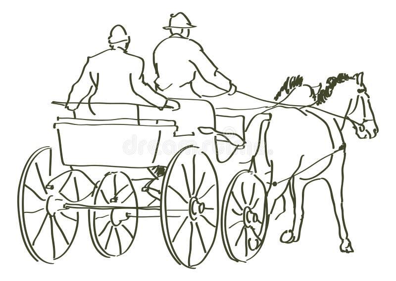 Caballos dibujados mano ilustración del vector