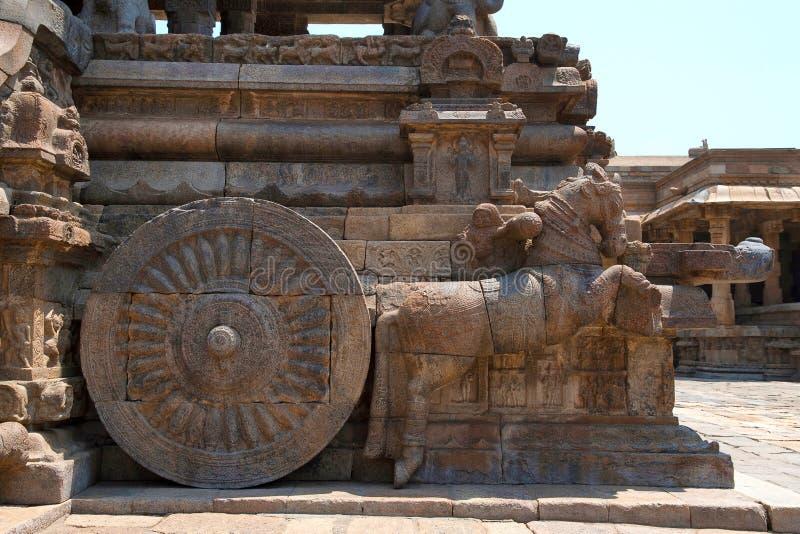 Caballos galopantes cerca de tramos escaleras, Agra-mandapa, templo de Airavatesvara, Darasuram, Tamil Nadu Visión desde el este imágenes de archivo libres de regalías