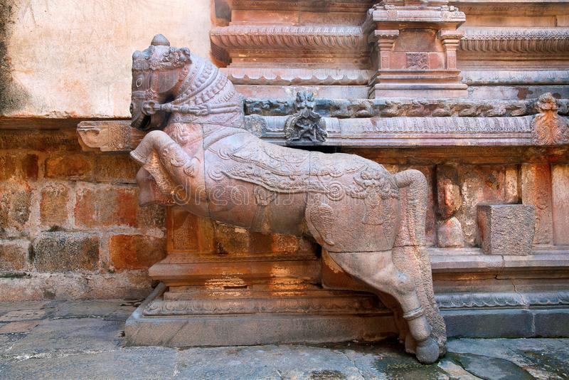 Caballos galopantes cerca de tramos escaleras, capilla de Subrahmanyam, complejo del templo de Brihadisvara, Tanjore, Tamil Nadu fotos de archivo libres de regalías