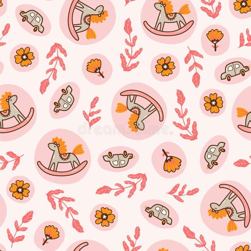 Caballos mecedora y coches del juguete en el fondo rosado Modelo inconsútil para el diseño de la tela de los niños o el papel pin ilustración del vector