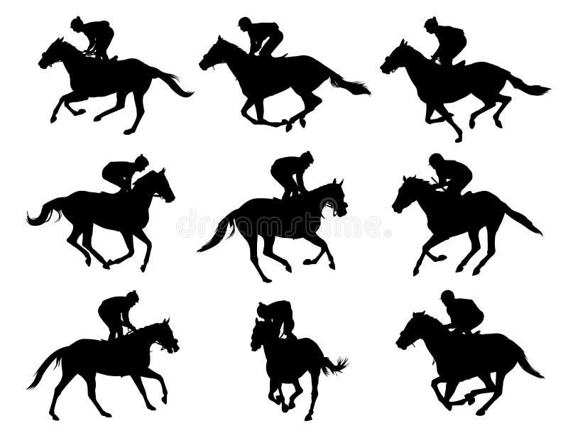 Caballos que compiten con y jinetes stock de ilustración