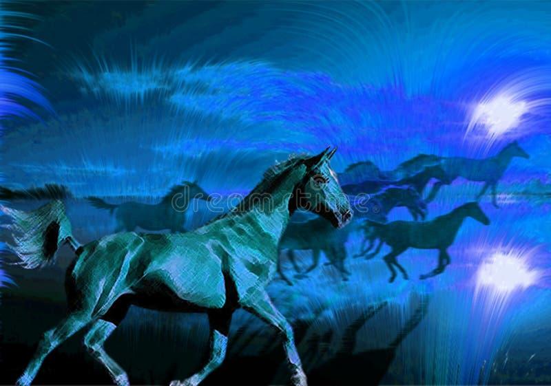Caballos que se ejecutan en la noche ilustración del vector