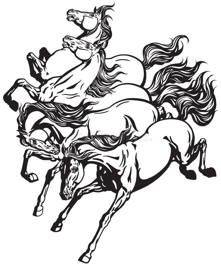 Caballos salvajes corrientes stock de ilustración