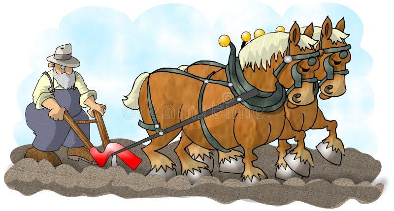 Caballos y arado stock de ilustración