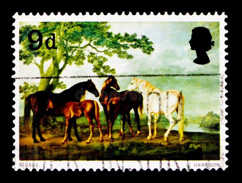 Caballus ferus Equus φοράδων και Foals σε ένα τοπίο, έργα ζωγραφικής serie, circa 1967 στοκ φωτογραφία με δικαίωμα ελεύθερης χρήσης