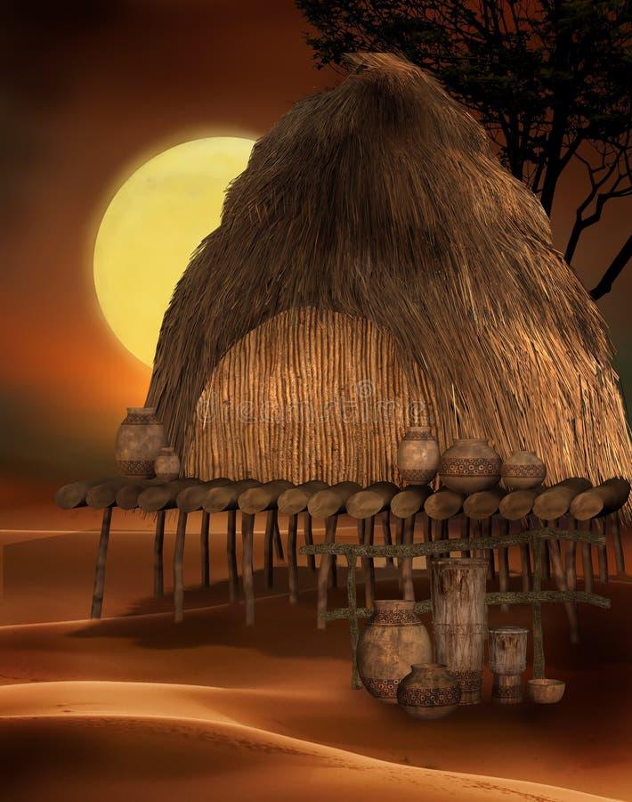 Cabana africana ilustração royalty free