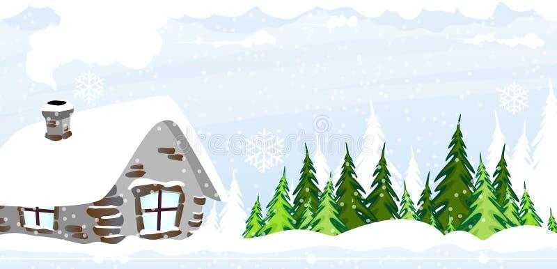 Cabana coberto de neve ilustração stock