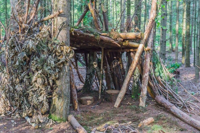 Cabana da árvore da construção do auto dos ramos e das folhas com assentos imagens de stock