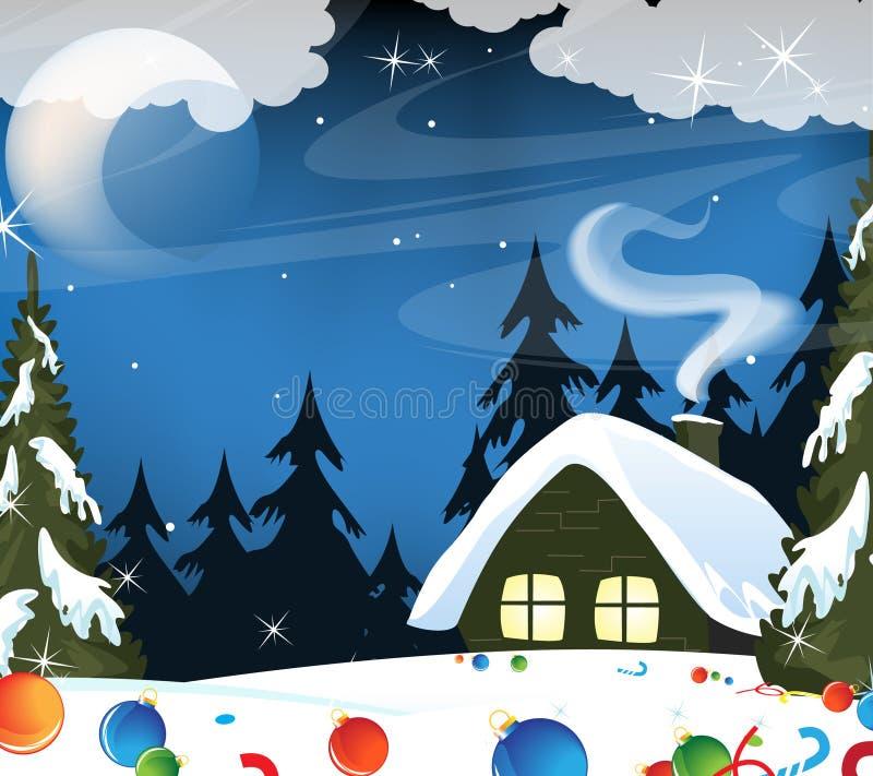Cabana da floresta e decorações do Natal ilustração stock